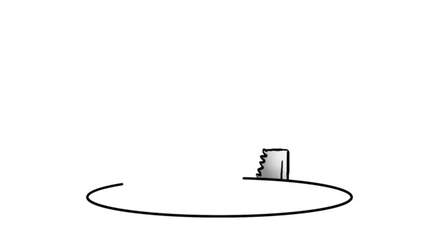 Cartoon saw cuts comedy hole in floor