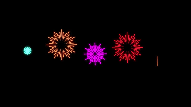 cartoon shape style fireworks - animation of fireworks - multi color multi version - firework display stock videos & royalty-free footage