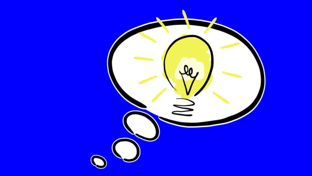 vídeos de stock, filmes e b-roll de desenho idéia lâmpada com balão de pensamento - lâmpada