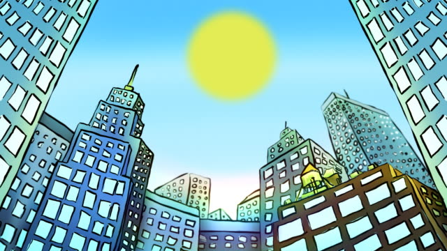 cartoon timelapse of city buildings - cartoon stock videos & royalty-free footage