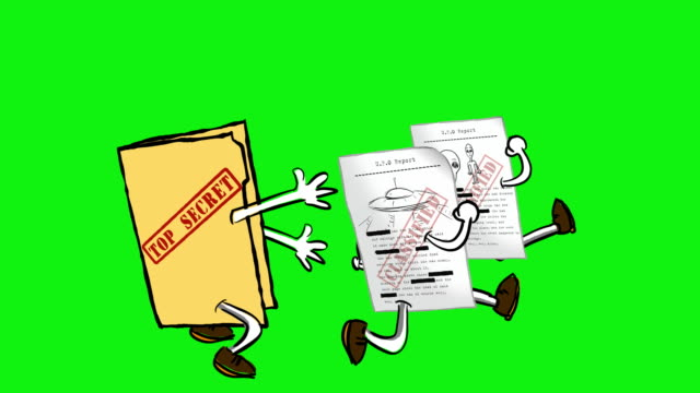 cartoon topsecret folder chases ufo documents on chromagreen. - classified ad stock videos and b-roll footage
