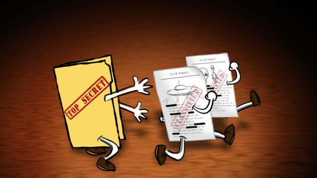 cartoon topsecret folder chases ufo documents. - classified ad stock videos and b-roll footage