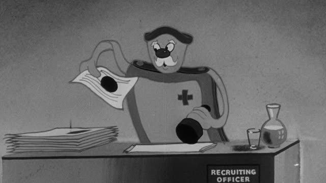 1942 b/w cartoon trash items in a single file line walking up to a military recruiting desk and onto the back of a pickup truck / united kingdom - military recruit stock videos & royalty-free footage