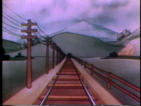 1935 montage cartoon trolley swept up in cyclone lands on train and is knocked off as train goes through tunnel - wreck stock videos & royalty-free footage