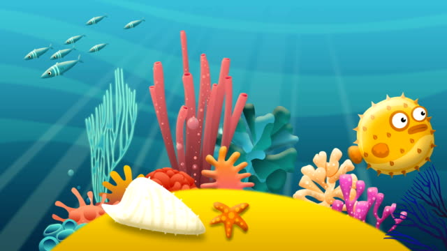 vídeos de stock, filmes e b-roll de desenhos animados debaixo d'água - fundo do mar