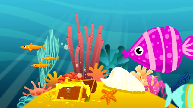 cartoon underwater - tropical fish stock videos & royalty-free footage