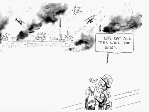 seq cartoonist alan moir drawing cartoon of soldier taking photograph with 'weapon of mass destruction' heading alan moir interviewed sot its the... - weapons of mass destruction stock videos & royalty-free footage