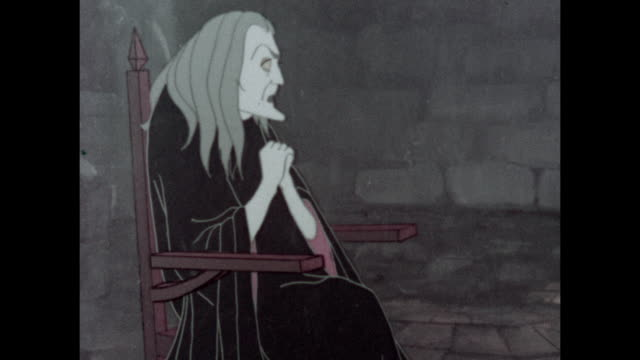 cartoons of a witch sitting on an armchair in front of the fire while the princess knits on the ground; shots of the witch talking - witch stock videos & royalty-free footage