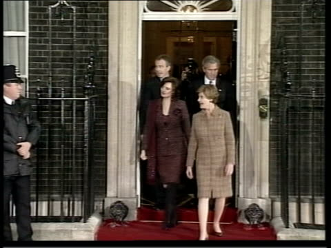 tony blair appears in 'the simpons'; lib england: london: downing street: ext tony blair mp and wife cherie blair from no.10 with us president,... - laura bush stock videos & royalty-free footage
