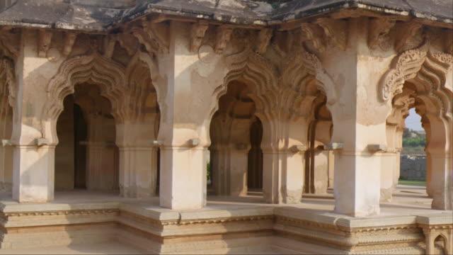 Carved Pillars of Lotus Mahal, Hampi, India