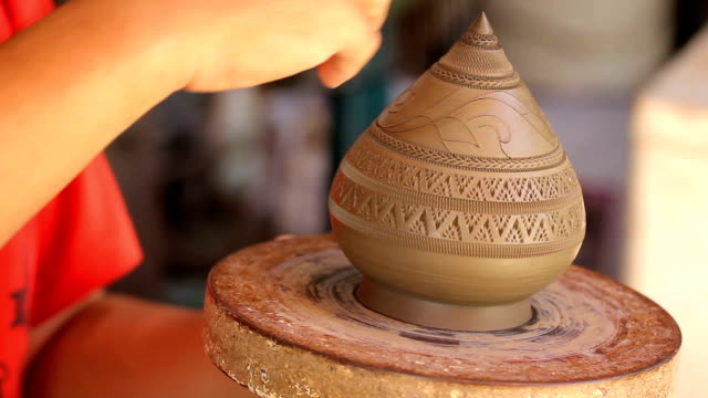 carved pottery,dolly shot - potter stock videos and b-roll footage