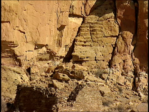 carved steps remain at the ruins of the pueblo bonito in new mexico. - chaco canyon stock videos & royalty-free footage