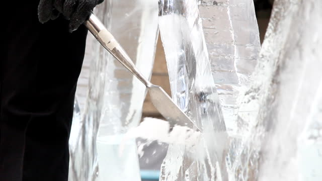 carving ice - sculptor stock videos & royalty-free footage