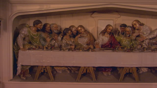 carving of the last supper - male likeness stock videos & royalty-free footage