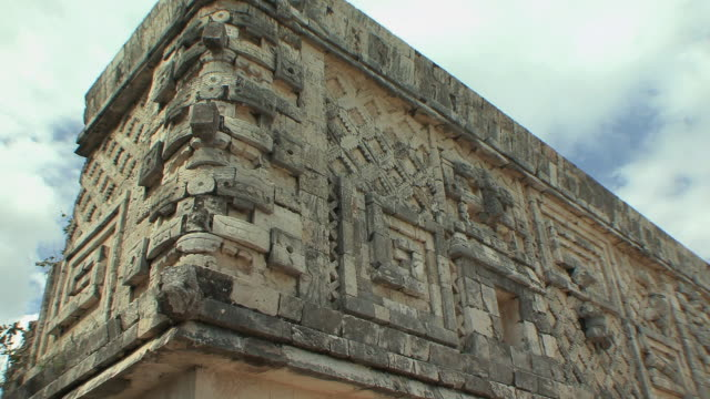 ms carvings at governor's palace at pre-columbian ruined city of maya civilization / uxmal, yucatan, mexico - pre columbian stock videos & royalty-free footage