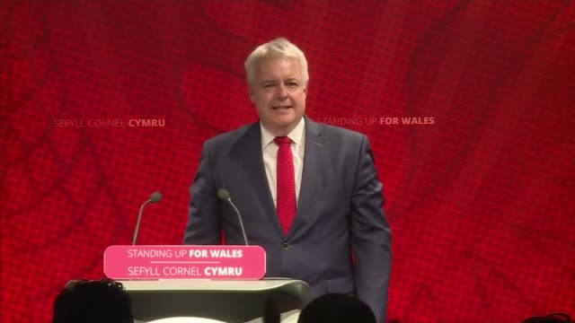 Carwyn Jones to step down as First Minister of Wales WALES Conwy Llandudno INT Carwyn Jones AM along stage as waving