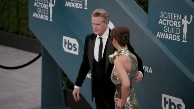 cary elwes and lisa marie kubikoff at the 26th annual screen actors guild awards arrivals at the shrine auditorium on january 19 2020 in los angeles... - shrine auditorium stock videos & royalty-free footage