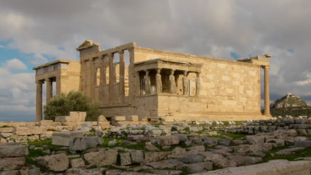 Caryatids at the Erechtheum. 4K Time lapse