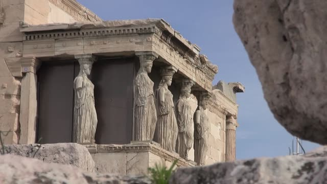 caryatids - fragments of temple of erechtheion on acropolis - caryatid stock videos & royalty-free footage