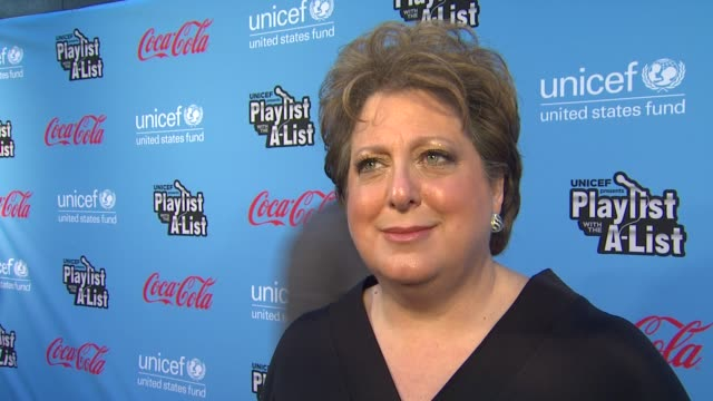 caryl stern on what we are celebrating, what we should expect to see at the second annual unicef playlist with the a-list, where the funds raised... - 出来事の発生点の映像素材/bロール