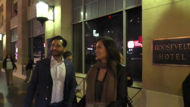 cas anvar and nadine nicole leave father figures premiere at tcl chinese theater hollywood at celebrity sightings in los angeles on december 13, 2017... - tcl chinese theater stock-videos und b-roll-filmmaterial