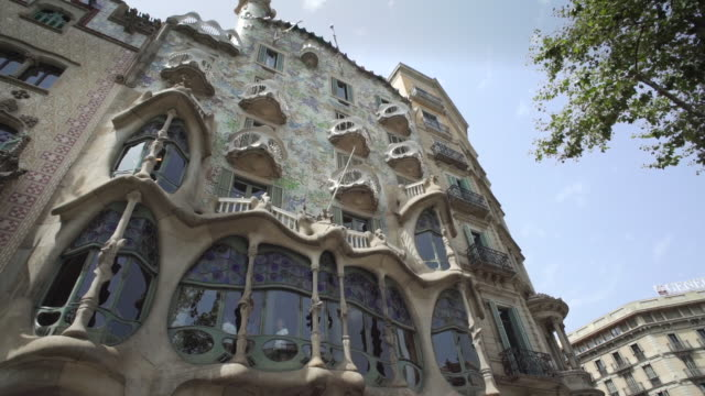 casa batllo barcelona antoni gaudi building. unesco world heritage. placed at passeig de gracia. - barcelona spain stock videos & royalty-free footage