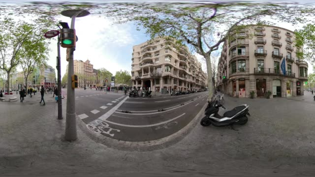 360 Casa Mila La Pedrera by Gaudi video at Barcelona. VR equirectangular panorama. Paseo de Gracia