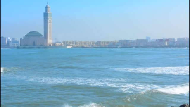 casablanca morocco exterior famous hassen ii mosque largest mosque in morocco and 7th largest in world architecture opened in 1963 - casablanca morocco stock videos & royalty-free footage