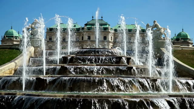 cascade belvedere palace vienna - belvedere palace vienna stock videos & royalty-free footage