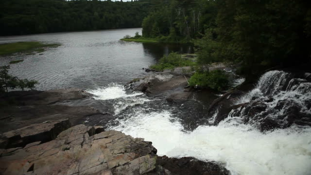 Cascading Waterfall on Edge of Lake in Canadian Wilderness