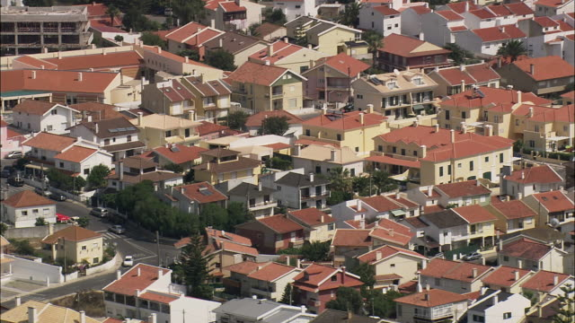 aerial ws cascais apartment blocks and suburbs / cascais, lisbon, portugal - cascais stock videos and b-roll footage