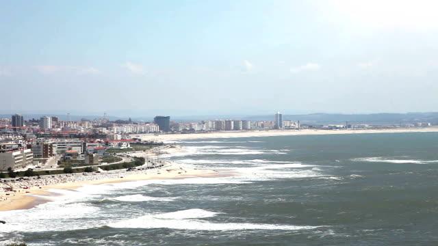 cascais beach, panoramic view - cascais stock videos and b-roll footage