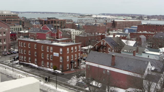 w/s, casco bay, atlantic ocean, east coast, old port, downtown, redbrick houses, snow, rooftop view, portland, usa - town stock videos & royalty-free footage