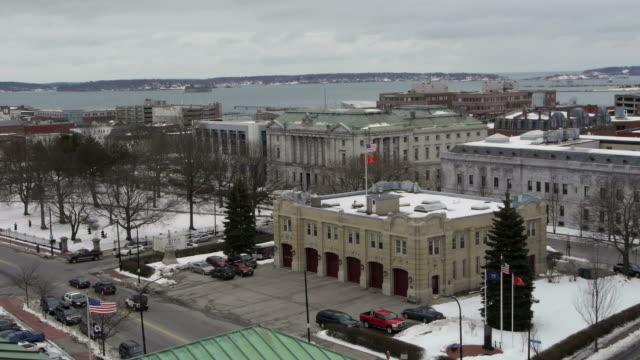 w/s, casco bay, atlantic ocean, east coast, old port, fire department, lincoln park, downtown, snow, rooftop view, portland, usa - fire station stock videos & royalty-free footage