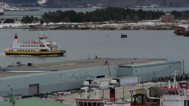 Casco Bay, Atlantic Ocean, East Coast, Old Port, harbour, ferry passing through, Portland, USA