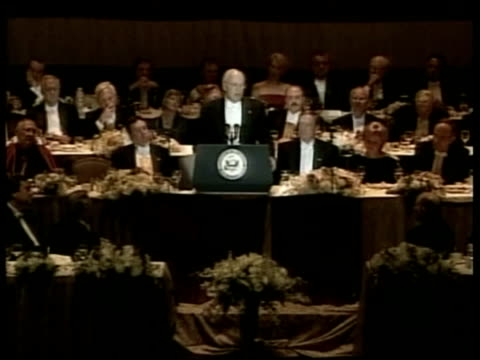 further briton infected; pool new york: int vice-president dick cheney speaking at memorial dinner people attending dinner, including new york mayor... - dick cheney stock videos & royalty-free footage