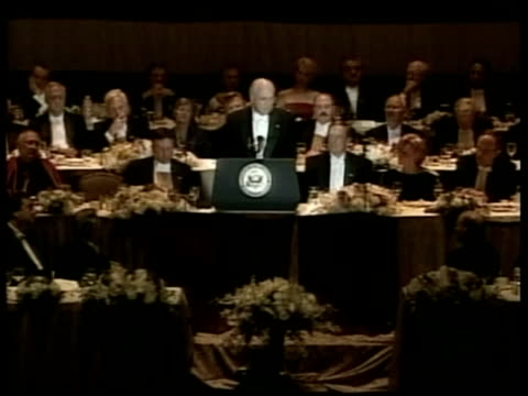 further briton infected pool new york vicepresident dick cheney speaking at memorial dinner dick cheney speech sot first time ever the country has a... - reuters stock videos & royalty-free footage