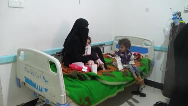 cases of cholera are on the rise in sanaa with 90 to 100 cases arriving every day at al-sabeen hospital in yemen's capital - vibrio stock videos & royalty-free footage