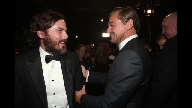Casey Affleck and Leonardo DiCaprio seen backstage at the 89th Annual Academy Awards at Hollywood Highland Center on February 26 2017 in Hollywood...