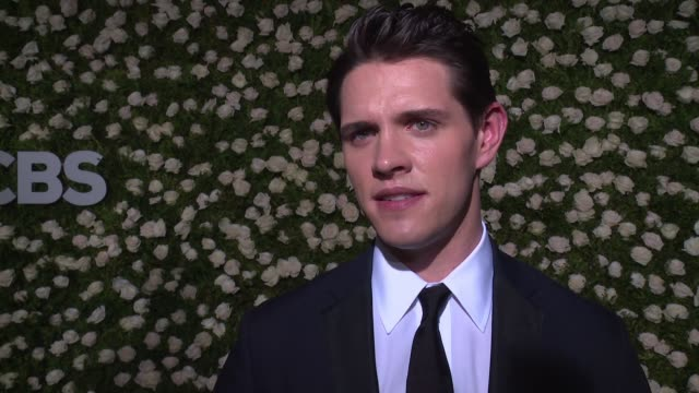 casey cott shares thoughts on the art of theater at 2017 tony awards - red carpet at radio city music hall on june 11, 2017 in new york city. - radio city music hall stock videos & royalty-free footage