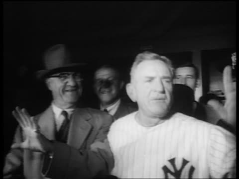 casey stengel holding hand up talking after world series win / nyc / newsreel - 1953 stock videos and b-roll footage