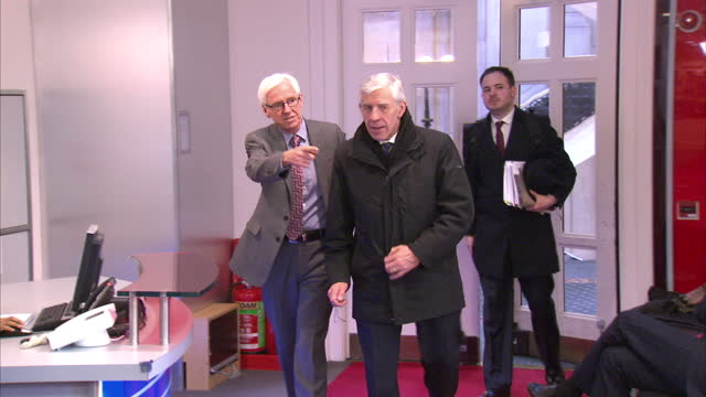 Cash For Access Interior Shots Jack Straw MP Labour Party being interviewed by press arriving at studios on February 23 2015 in London England