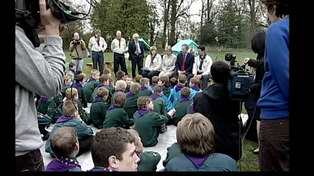 cash for honours evidence handed to crown prosecution service tony blair seated at outdoor question and answer session with boy scouts - honor stock videos & royalty-free footage