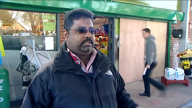 cash point blown up at hampshire petrol station day bahee rathan interview on incident sot - hampshire stock-videos und b-roll-filmmaterial