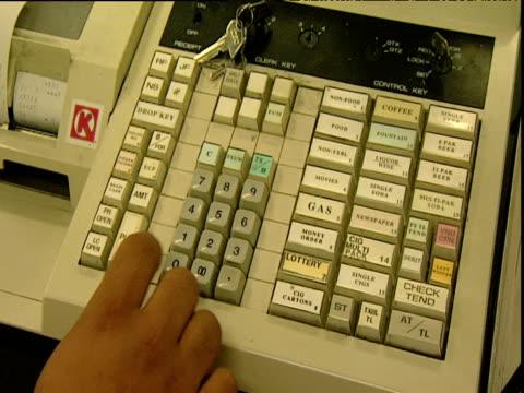 cashier keys cash register arizona - cash register stock videos and b-roll footage