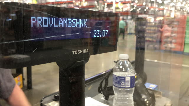 cashier wearing face mask are working at the costco wholesale store amid the global coronavirus pandemic, in atlanta, georgia on june 11, 2021. - human head stock videos & royalty-free footage