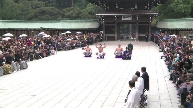 casi desnudos dos grandes campeones del sumo en japon desafiaron al frío este miercoles al representar un ritual de lucha en honor al ano nuevo... - heder bildbanksvideor och videomaterial från bakom kulisserna