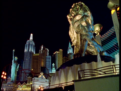 casino and attractions at night, las vegas - casino stock videos & royalty-free footage