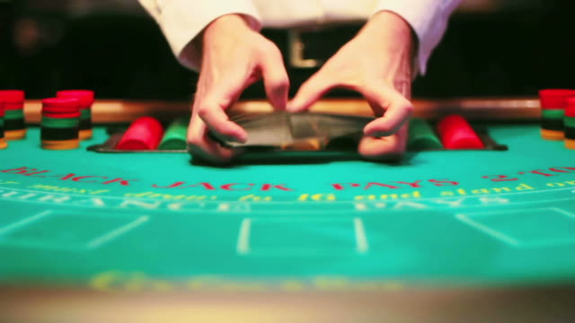casino, black jack table. - blackjack stock videos and b-roll footage
