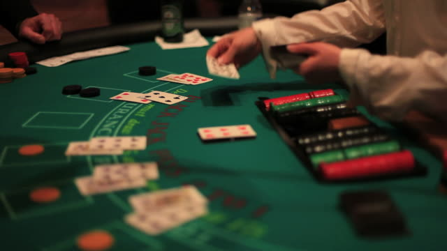 casino, blackjack table. - casino worker stock videos and b-roll footage